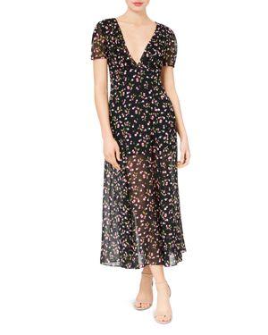 BETSEY JOHNSON Deep-V Cherry-Print Maxi Dress in Black Multi