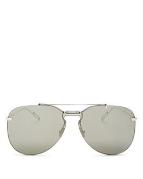 Dior - Men's Mirrored Brow Bar Rimless Aviator Sunglasses, 66mm