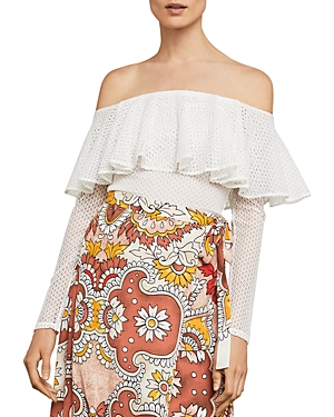 Bcbgmaxazria Ruffled Off-the-Shoulder Lace Bodysuit