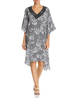Profile by Gottex Embroidered V-Neck Caftan Swim Cover-Up