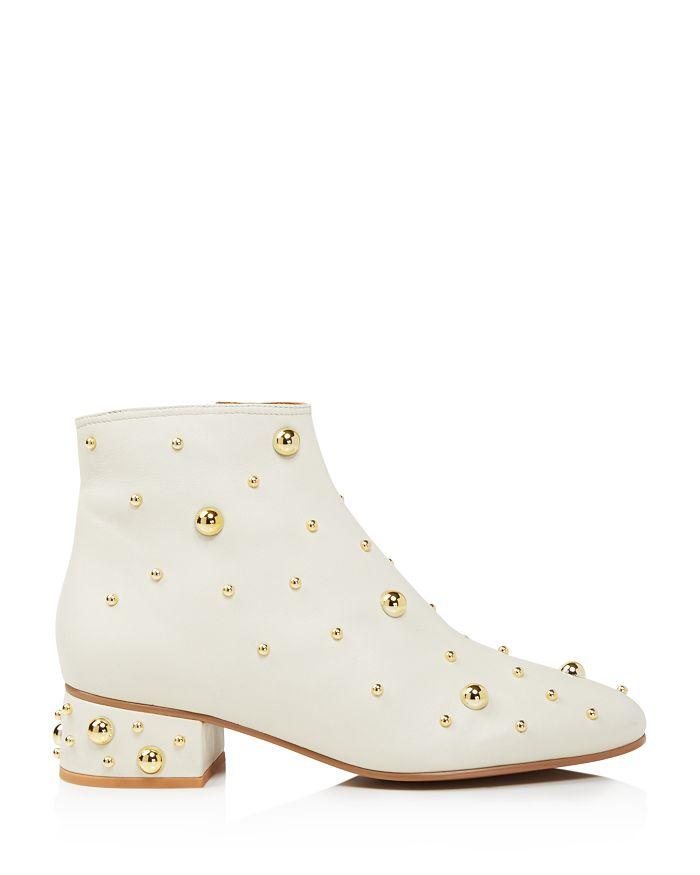 81660495 Women's Studded Leather Block Heel Booties