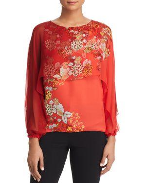 Elie Tahari Malika Overlay Floral Silk Top
