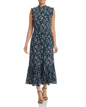Michael Michael Kors Ruffle-Trimmed Floral-Print Midi Dress