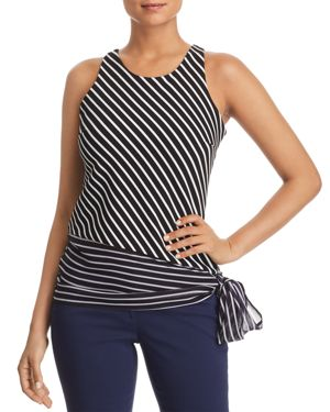 T TAHARI YASHALI SIDE-TIE STRIPED TOP