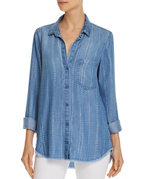 Bella Dahl - Frayed Striped Chambray Shirt