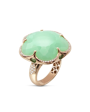 Pasquale Bruni 18K Rose Gold Bon Ton Chrysoprase & Diamond Floral Ring