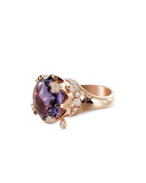 PASQUALE BRUNI 18K ROSE GOLD SISSI AMETHYST & DIAMOND COCKTAIL RING