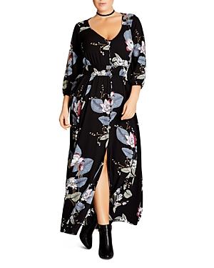 City Chic Plus Floral-Print Maxi Dress