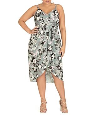 City Chic Plus Sweet Temptation Floral Faux-Wrap Dress