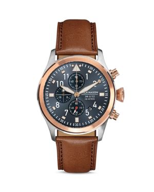 JACK MASON Aviation Leather Strap Chronograph Watch in Blue