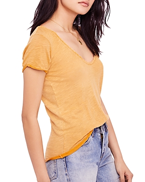 Free People Saturday Lace-Trimmed Tee