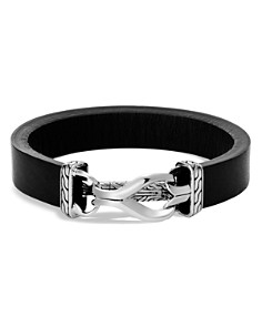 JOHN HARDY - Sterling Silver Classic Chain Black Leather Bracelet