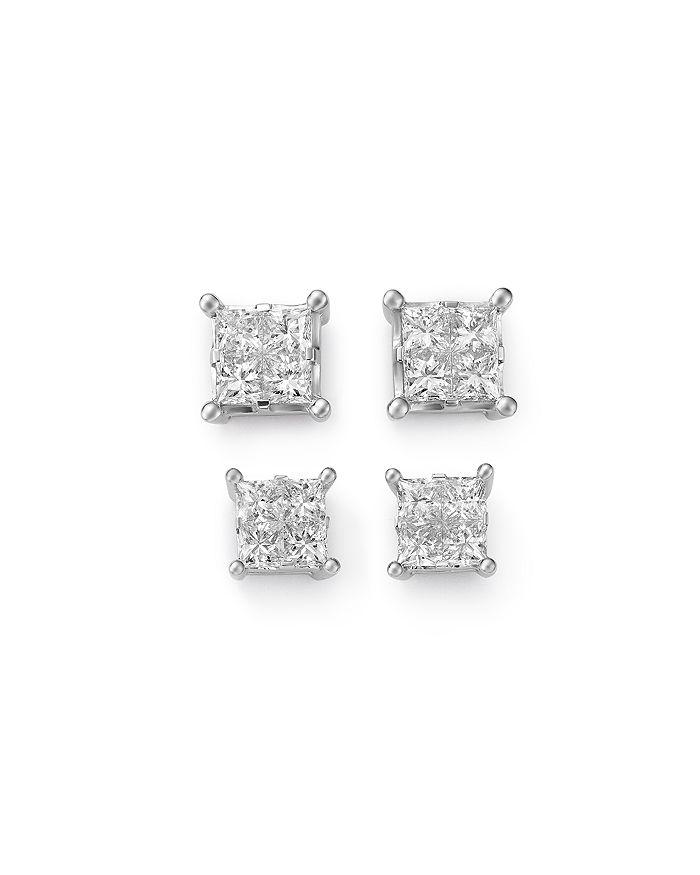 Bloomingdale's - Princess-Cut Diamond Stud Earrings in 14K White Gold - 100% Exclusive