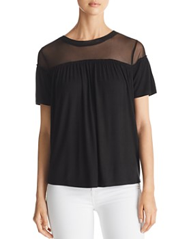 Alison Andrews - Shirred Mesh-Yoke Top