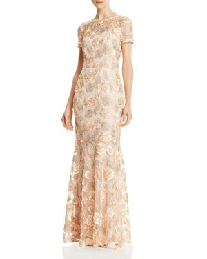 DECODE 1.8 Floral Embellished Gown in Blush
