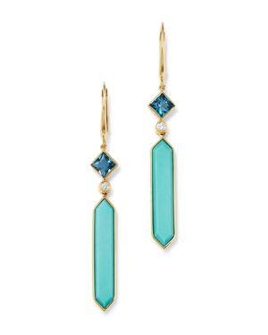OLIVIA B 14K YELLOW GOLD STABILIZED TURQUOISE, LONDON BLUE TOPAZ & DIAMOND DROP EARRINGS - 100% EXCLUSIVE