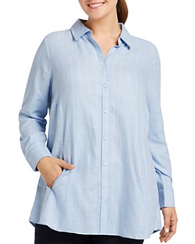 Foxcroft Plus - Cecilia Striped Button-Down Tunic
