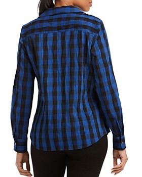Foxcroft - Crinkled Buffalo Check Top