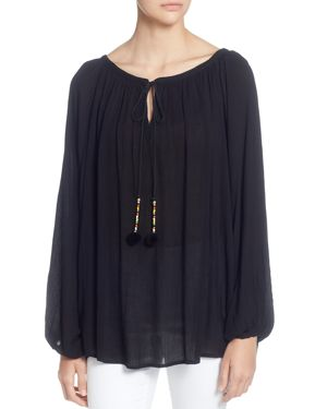 CATHERINE CATHERINE MALANDRINO Tie-Front Scoop-Neck Full-Sleeves Raglan Top in Black
