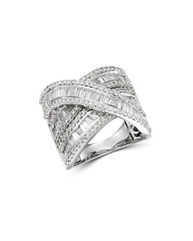 Bloomingdale's - Diamond Baguette & Round Statement Crossover Ring in 14K White Gold, 3.0 ct. t.w.