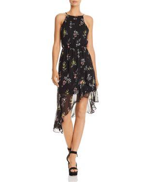 Aqua Floral Print Asymmetric Dress - 100% Exclusive