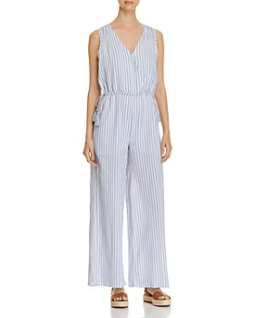 Cupio - Striped Wide-Leg Drawstring Jumpsuit