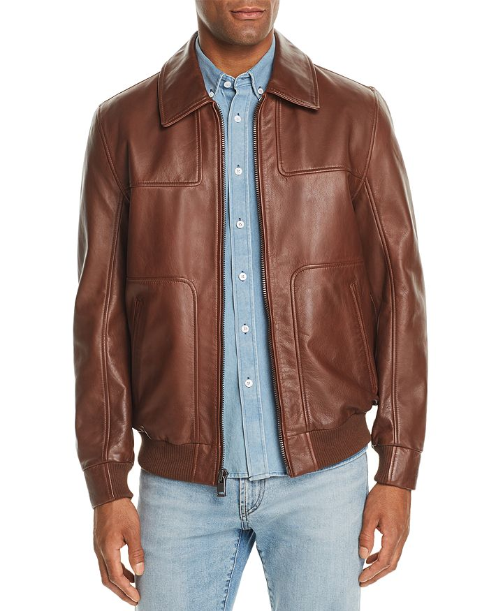 Andrew Marc - Vaughn Leather Bomber Jacket