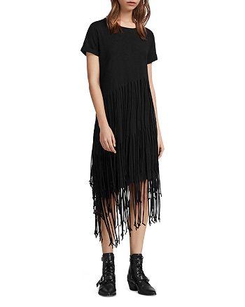 ALLSAINTS - Tami Tiered Fringed T-Shirt Dress
