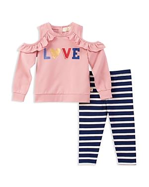 kate spade new york Girls French Terry ColdShoulder Love Sweatshirt  Striped Leggings Set  Little Kid