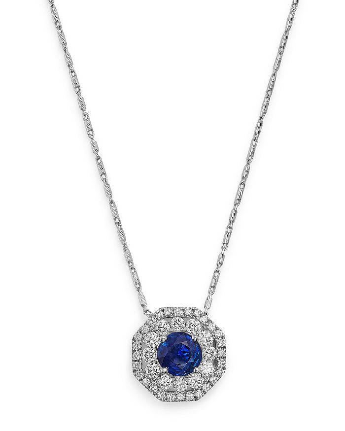 "Bloomingdale's - Diamond and Blue Sapphire Pendant Necklace in 14K White Gold, 18"" - 100% Exclusive"