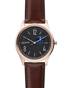 Jack Mason - Slim Dark Brown Strap Watch, 42mm