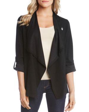 Roll-Tab Draped Jacket in Black