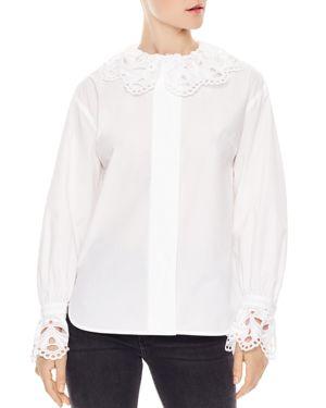 Lineaire Scalloped Lace-Trim Cotton Top, White