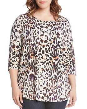 Karen Kane Plus - Three-Quarter Sleeve Leopard Print Top
