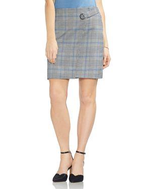 Vince Camuto Plaid Faux-Wrap Skirt