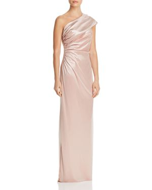 ADRIANNA PAPELL ONE-SHOULDER GODDESS GOWN