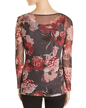 Love Scarlett - Shirred Floral Mesh Top