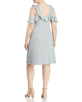 Lost Ink Plus - Cold-Shoulder Ribbed-Knit Dress