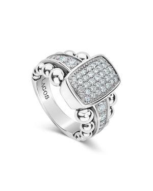 Lagos Sterling Silver Caviar Spark Diamond Station Ring