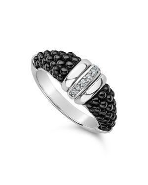 Sterling Silver Black Caviar Diamond & Black Ceramic Stacking Ring, Black/Silver