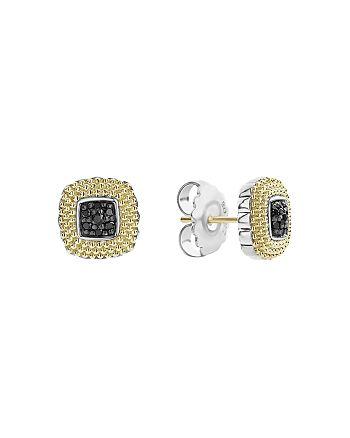 LAGOS - 18K Yellow Gold & Sterling Silver Diamond Lux Black Diamond Square Earrings