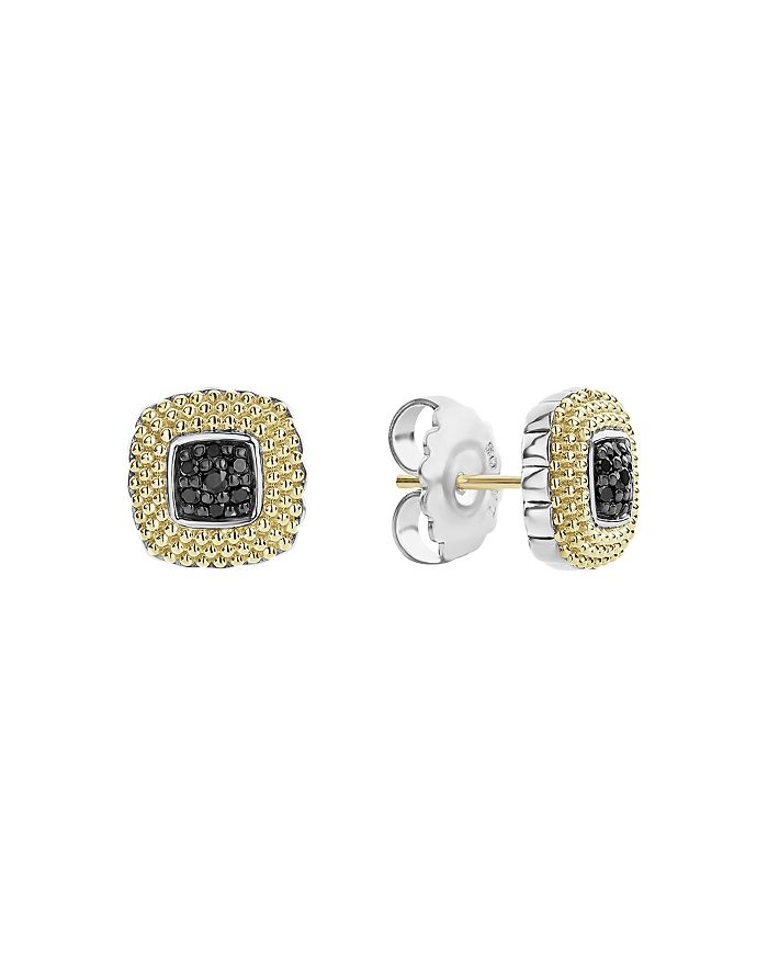LAGOS - 18K Yellow Gold & Sterling Silver Diamond Lux Black Diamond Square Earrings