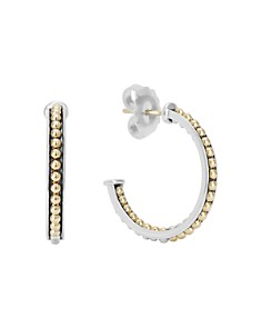 LAGOS - 18K Yellow Gold & Sterling Silver KSL Caviar Bead Hoop Earrings
