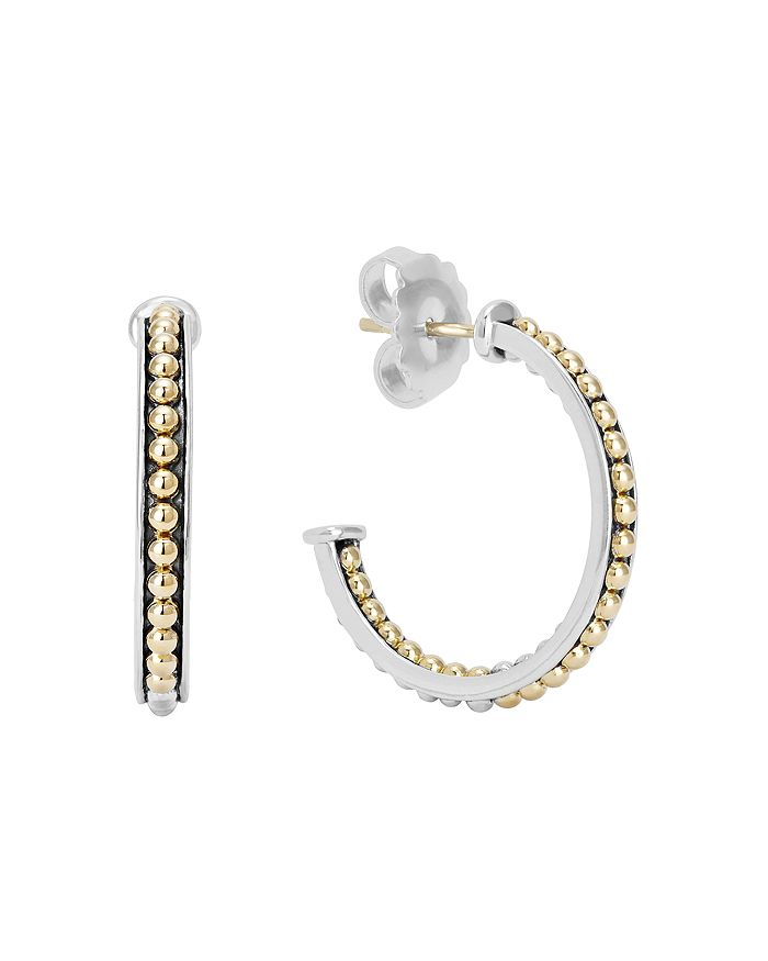 Lagos 18K YELLOW GOLD & STERLING SILVER KSL CAVIAR BEAD HOOP EARRINGS