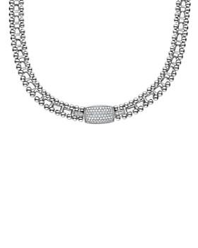 """LAGOS - Sterling Silver Caviar Spark Pavé Diamond Station Necklace, 18"""""""