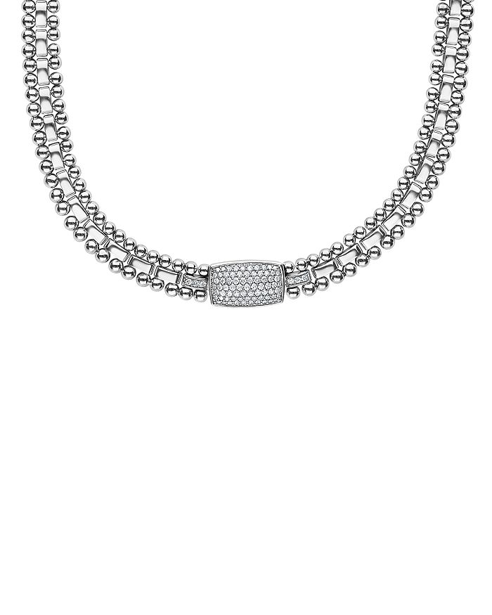LAGOS - Sterling Silver Caviar Spark Pavé Diamond Station Necklace, 18""