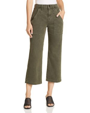 Wide Leg Crop Cargo Jeans In Military Green 2