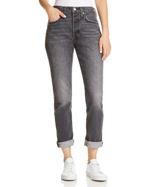 501 High-Rise Ankle Skinny Jeans in Coal Black