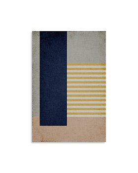 "Art Addiction Inc. - Vertical Navy Stripe Yellow Wall Art, 30"" x 20"" - 100% Exclusive"