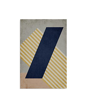 "Art Addiction Inc. - Diagonal Navy Stripe Yellow Wall Art, 30"" x 20"" - 100% Exclusive"